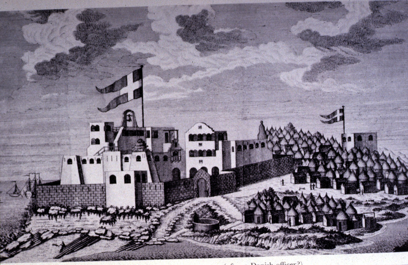"""Main royal Danish castle of Christiansborg at Accra"" (caption translation). Built by the Danes in 1660, this engraving shows the north and east sides of fort, from the southwest. It also depicts the neighboring African town of Accra in the Voltaic region. A clearer plate of this illustration, as well as a view from the northeast, is publshed in Selena Axelrod Winsnes, trans. and ed., A reliable account of the coast of Guinea (1760) by Ludewig Ferdinand Romer (Oxford University Press, 2000), plates 2 and 3. Also reproduced in A. W. Lawrence, Trade Castles and Forts of West Africa (Stanford Univ. Press, 1964), plate 44."