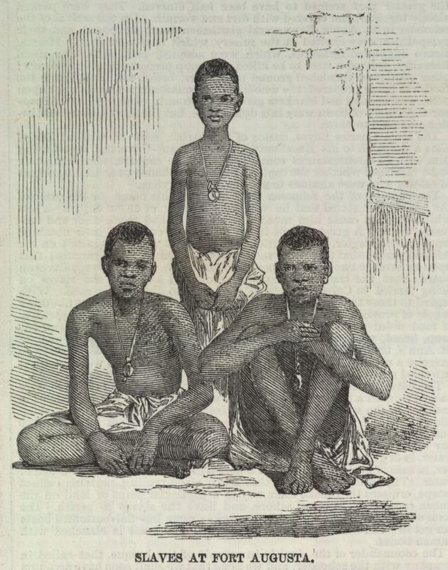 Slaves at Fort Augusta, shows a group of liberated Africans, wearing tin or wood tags around their necks. British officials placed these tags when the Africans were landed for registration and administrative purposes. This is one of a group of five illustrations that accompany a letter to the editor describing the capture by the British Navy of a slave ship, the Zeldina, blown off course near the coast of Cuba. Dated Kingston, Jamaica, May 11, 1857, the letter includes excerpts from two Jamaican newspapers; these provide details on the capture and the condition of the Africans on board. The engravings shown here were made from photographs sent by the writer to the Illustrated London News. In brief, these accounts relate how in April a British naval vessel captured the slave ship and brought it to Port Royal. On board were the 370 survivors of the approximately 500 Africans who had been boarded in Cabinda (Angola) approximately 46 days earlier. A contemporary newspaper describes their condition as follows: The poor captives were in a wretched condition--all of them naked; and the greater part seemed to have been half starved. They were packed closely together, and covered with dirt and vermin . . . . The slave-schooner had two decks and between them the captives were packed in such a manner that they had scarcely room to move. During each day of the voyage they sat in a painful posture, 18 inches only being allowed for each to turn in . . . in a deck room of 30 feet in length . . . [they were] brought up in platoons once every day to get a small portion of fresh air . .  (ILN, pp. 595-596). Thanks to Sharla Fett for identifying the tags and to David Eltis for providing the name of the slave ship. Illustrations of archaeologically recovered tags on St. Helena and more details are discussed by Helen MacQuarrie, in A. Pearson et al, Infernal Traffic: Excavation of a Liberated African Graveyard in Rupertís Valley, St. Helena (Council for British Archaeology, Research Report 169; York, England, 2011), pp. 100-102. See also image reference iln 595e.