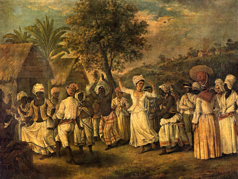 "This oil painting shows the houses of enslaved people on the left and in the background. Agostino Brunias (1730–1796), also Brunyas, Brunais, was an Italian painter. He went to London in 1758 where he became acquainted with William Young, who was appointed to a high governmental post in West Indian territories acquired by Britain from France during the Seven Year's War. In late 1764, Brunias accompanied Young to the Caribbean as his personal artist. Arriving in early 1765, Brunias stayed in the islands until around 1775, when he returned to England and exhibited some of his paintings. He returned to the West Indies in 1784 and remained there until his death on the island of Dominica in 1796. Although Brunias primarily resided in Dominica, he also spent time in St. Vincent and visited other islands, including Barbados, Grenada, St. Kitts and Tobago. See Lennox Honychurch, ""Chatoyer's Artist: Agostino Brunias and the Depiction of St Vincent,"" Journal of the Barbados Museum and Historical Society 50 (2004): p.104-128; Hans Huth, ""Agostino Brunias, Romano,"" The Connoisseur 51 (1962): p. 265-269. See images NW0251a and NW0156."