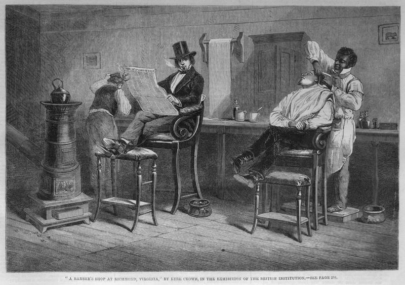 Caption, A Barber's Shop at Richmond, Virginia. The accompanying article (p. 216) says nothing about this scene. The original eyewitness drawing was done by the English artist Eyre Crowe who visited Richmond for a few days in early March 1853. Crowe also published this engraving, titled, An American Barber, Richmond, Va, in his book With Thackeray in America (New York, 1893), p. 139; however, the scene is not described and it is unknown if the black barber was enslaved or free.