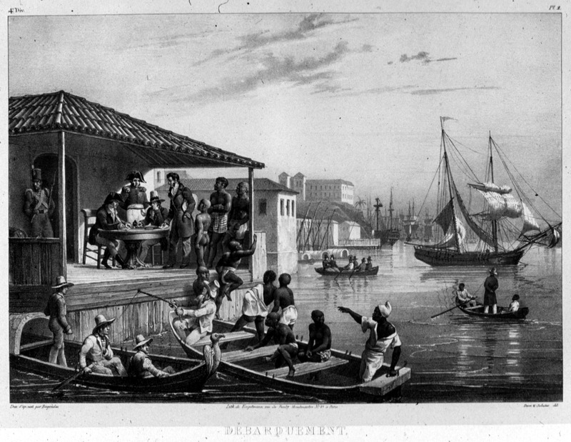 """Landing"" (caption translation). This image shows newly arrived Africans being landed from small boats in a harbor in Brazil.  Johann Moritz Rugendas (1802–1858) was a German painter, famous for his works depicting landscapes and ethnographic subjects in the Americas, in the first half of the nineteenth century. Rugendas arrived in Brazil in 1822, hired as an illustrator for Baron von Langsdorff's scientific expedition. Rugendas remained on his own in Brazil until 1825, exploring and recording his many impressions of daily life in the provinces of Minas Gerais and Rio de Janeiro, and quickly the coastal provinces of Bahia and Pernambuco on his journey back to Europe. He produced mostly drawings and watercolors. He returned to Europe and between 1827 and 1835 he published his book with the help of Victor Aimé Huber. For an analysis of Rugendas' drawings, as these were informed by his anti-slavery views, see Robert W. Slenes, African Abrahams, ""Lucretias and Men of Sorrows: Allegory and Allusion in the Brazilian Anti-slavery Lithographs (1827-1835) of Johann Moritz Rugendas,"" Slavery & Abolition, 23 (2002), p. 147-168. The same illustration was also published in the Illustrated London News (Aug. 6, 1842; vol. 1, p. 193), inexplicably with the caption ""Hill Coolies Landing at Mauritius."" The commercial house Corbis sells this image from the Illustrated London News, with the same caption, and authors/publishers who purchase from Corbis repeat the erroneous identification as a scene from the British colony of Mauritius, e.g., J. P. Rodriguez, Chronology of World Slavery (ABC-CLIO, 1999), p.142."