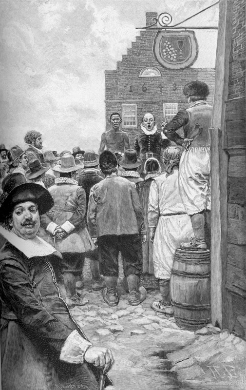 """This auction scene accompanies an article, """"The New York Slave-Traders"""" (p. 293-303). The date 1643 is shown on the building behind the auctioneer's block and modern publishers sometimes assume to be the date of the illustration. Howard Pyle (1853-1911) was an American illustrator and author, primarily for young people. He is credited with creating what has become the modern stereotype of pirate dress."""