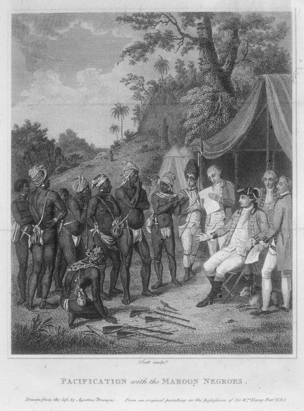 This image shows a group of men laying down their arms in front of British army officers. The place is not identified on the engraving, but because it was published in Edwards, who discusses the Jamaican Maroon wars at length, this scene was associated with 1739 and 1740 treaties signed between the British and Maroons in Jamaica. However, the original painting from which the engraving derives was done by Agostino Brunias and most probably depicts the end in 1773 of the First Carib War on St. Vincent, when a treaty was signed between the British and the Black Caribs, whose major chiefs are shown in the painting/engraving. The engraving has also been used to illustrate Maroon confrontations in Dominica and, as noted above, Jamaica. The catalog of the Nicholas M. Williams Collection (Boston College, 1932) holds a colored engraving of this image with the entry, Pacifications with the Maroon Negroes, by Scott from a painting by Agostino Brunyas. London, 1801. For background on Brunias and his romanticized paintings of West Indian scenes, see image NW0016. Compare images of Black Caribs shown here with those in image reference Bilby-4.