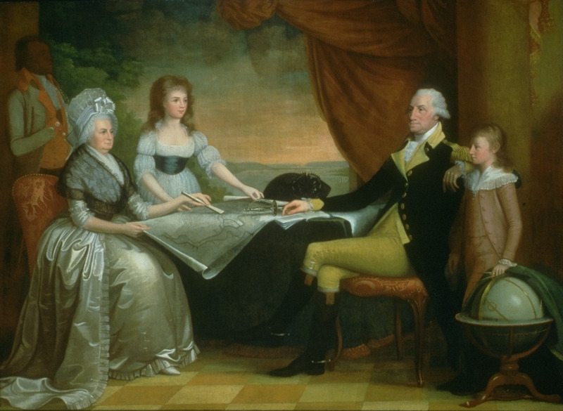 Painting by Edward Savage, 1796. The image shown here is a (mistakenly) reversed image of the original, in which G.W. appears on the left (see, for example, the b/w reproduction published in Hugh Honour, The Image of the Black in Western Art [Menil Foundation, Harvard University Press, 1989], vol. 4, pt. 1, p. 47, fig. 13). The black servant shown in the upper left hand corner (on the right in the original painting) is usually identified as William (Billy) Lee, G.W.'s valet and favorite slave, but some scholars have speculated that he may be, in fact, Christopher Sheels, who served in that capacity after Lee became crippled in the 1780s. There is no documented likeness of William Lee so that any identification is conjectural (Sidney Kaplan, The Black Presence in the Era of the American Revolution, 1770-1800 [New York Graphic Society, 1973, pp. 218-19], pp. 33, 35).