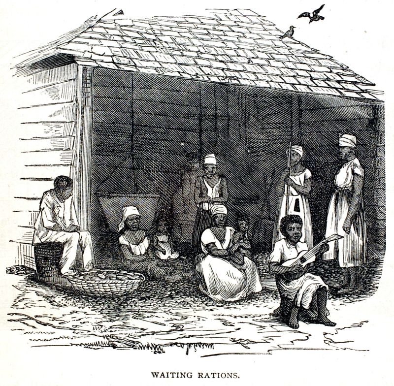 The author, who visited Cuba ca. 1866, describes a large sugar plantation, or estate. The bulk of the hands used in the general operations of the place, cutting cane, plowing, etc. are known as the gente, or people. They are pretty well taken care of as regards food . . . at least in quantity . The clothing . . . is limited, the children usually going about stark naked, the women with only a calico dress on, and the men wearing only their pants. it is rather a novel sight, at the eleven o'clock halt from work, to see these people gathering for their rations, which are served out to them once a day (pp. 360-61). Person in right foreground is playing a guitar. In its digital gallery, the Schomburg Center for Research in Black Culture (New York City), shows a photograph (stereograph) of a plantation view in Cuba (image 1657420) that is clearly related to the image shown here -- which was probably based on the photograph (thanks to Roberta Kilkenny for bringing this to our attention).