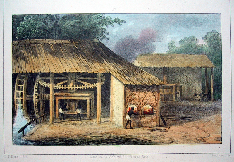 """""""Mill for Pressing Sugar Cane"""" (caption translation). This engraving shows enslaved people feeding sugar cane into the rollers of a water-powered mill (on the left) and a cattle mill with vertical rollers (on the right). Pierre Jacques Benoit (1782-1854) was a Belgian artist, who visited the Dutch colony of Suriname on his own initiative for several months in 1831. He stayed in Paramaribo, but visited plantations, maroon communities and indigenous villages inland."""