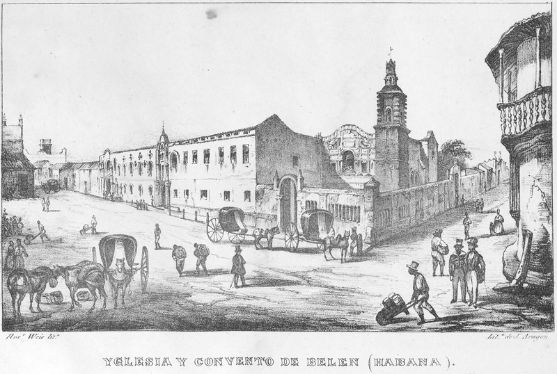 """Church and Convent of Belen (Havana)"" (caption translation). This engraving shows, among other figures, a black man pushing a wheelbarrow, others carting loads on their backs and a liveried coachman waiting by a carriage in front of a convent. José María de Andueza (1809-1865) was a journalist and writer of romantic historical novels. He visited Havana and Cuba's western provinces in 1825 and 1830. This illustration was made by Frédéric Mialhe (1810-c. 1861), also Federico Mialhe, who was a French landscape painter and draughtsman. He went to Cuba on by invitation of the Real Sociedad Patriótica. He designed three sets of lithographs from 1838 to 1854. The publisher, Bernardo May, claimed ownership of this image and sold them under his own name. For a discussion on the image see Emilio Cueto, Mialhe's Colonial Cuba (Miami: The Historical Association of Southern Florida, 1994), p. 38-40."