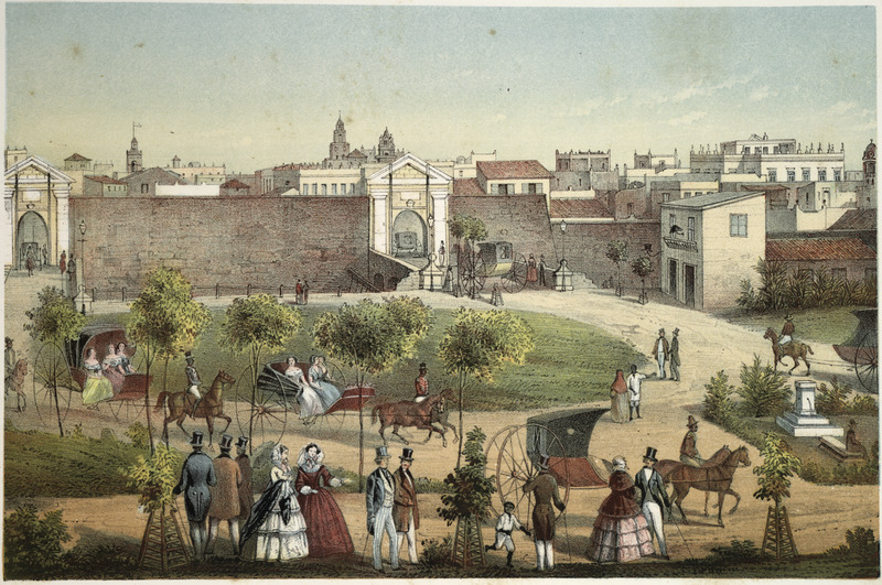 """""""Gates of Monserrate"""" (caption translation). This lithograph shows one of the main gates into the walled city of Havana. There are horse-drawn carriages (quitrín) being driven by liveried coachmen. The illustration shown here is based on, and is slightly different from, a picture by the same title by the French artist Frédéric Mialhe (1810-c. 1861), also Federico Mialhe, who was a French landscape painter and draughtsman. He went to Cuba on by invitation of the Real Sociedad Patriótica. He designed three sets of lithographs from 1838 to 1854. The publisher, Bernardo May, claimed ownership of this image and sold them under his own name. For a discussion on the image see Emilio Cueto, Mialhe's Colonial Cuba (Miami: The Historical Association of Southern Florida, 1994), p. 84, 86, 87. For a description of the quitrín, see image LCP-15."""