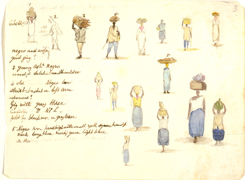 This watercolour  contains sixteen small drawings of men and women carrying goods on their heads with brief notations about the subjects of the drawings. William Berryman was an English artist who lived in Jamaica for eight years between 1808 and 1816. He produced about 300 pencil drawings and watercolour of people, landscape, settlements, and flora in the island's southern parishes and the general region surrounding Kingston. Several other Berryman works are reproduced in T. Barringer, G. Forrester, B. Martinez-Ruiz, et al., Art and Emancipation in Jamaica: Isaac Mendes Belisario and his Worlds (New Haven: Yale Center for British Art in association with Yale University Press, 2007).