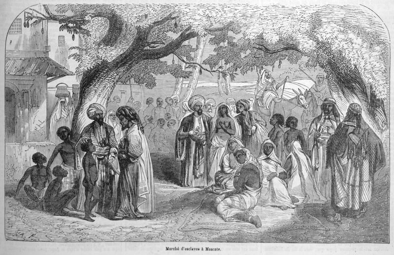 Captioned Slave market in Mascate (Masqat or Muscat, today the capital of Oman), shows Arab traders and onlookers with captured black Africans. This illustration accompanies a lengthy eyewitness account by Loarer (no first name given) on slavery on the east coast of Africa (pp. 135-138).