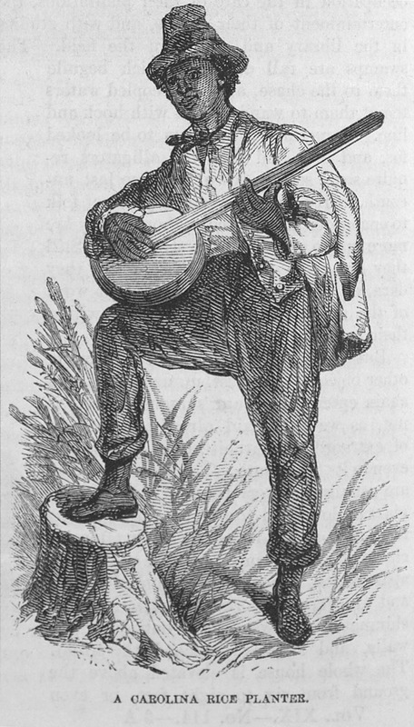 """This image depicts a rice planter playing a banjo standing up with one leg on a log in Carolina. It accompanies an article by T. Addison Richards called """"The Rice Lands of the South"""" (pp. 721-38). Thomas Addison Richards (1820–1900) was a British landscape artist, who migrated with his family to the United States in 1831. The family first settled in New York, then South Carolina and finally Georgia by 1837. Richards made a career of sketching Georgia's scenery. Harper's Magazine (also called Harper's) is a monthly magazine of literature, politics, culture, finance and the arts."""