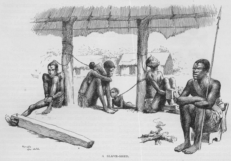 "This engraving of a slave barracoon in the Loango Coast and Kwanza North regions shows several captive Africans, including women and children, while an African guard holds a spear. Glave lived in the Congo for six years, 1883-1889. He provided a vivid account of slaving activities in the Congo river basin. The illustration was described as captives being ""hobbled with roughly hewn logs which chafe their limbs to open sores; sometimes a whole tree presses its weight on their bodies while their necks are penned into the natural prong formed by its branching limbs. Others sit from day to day with their legs and arms maintained in a fixed position by rudely constructed stocks, and each slave is secured to the roof-posts by a cord knotted to a cane ring which either encircles his neck or is intertwined with his woolly hair. Many die of pure starvation, as the owners give them barely enough food to exist upon. . . After suffering this captivity for a short time, they become mere skeletons. All ages, of both sexes, are to be seen: mothers with their babes; young men and women; boys and girls; and even babies who cannot yet walk. . . One seldom sees either old men or old women; they are all killed in the raids"" (Glave, pp. 830-31). This image was reproduced in Thomas W. Knox, The Boy Travellers on the Congo (New York, 1887). A variant of this illustration, captioned for sale appears in Glave's book In Savage Africa (New York, 1892), p. 201)."