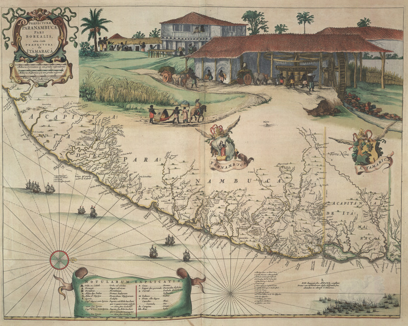 """Office of Pernambuco Northern Region"" (caption translation). This engraving of a map of Brazil includes an inset image showing a sugar plantation and enslaved people engaged in various tasks. In the center, a group is transporting a planter's wife in a hammock. Also shown were various plantation buildings, including the manor house or great house and a vertical roller sugar mill powered by water. Frans Post and Georg Marcgraf made this engraving. Frans Janszoon Post (1612–1680) was a Dutch painter. In 1636, he traveled to Dutch Brazil where he produced a large number of sketches and etchings, but only completed six paintings. In his lifetime, he made 140 paintings. The paintings he produced in Brazil differ from those he painted after he left Brazil. Georg Marcgraf (1610–c.1644) was a German cartographer and astronomer who also traveled to Dutch Brazil. See image NW0062."