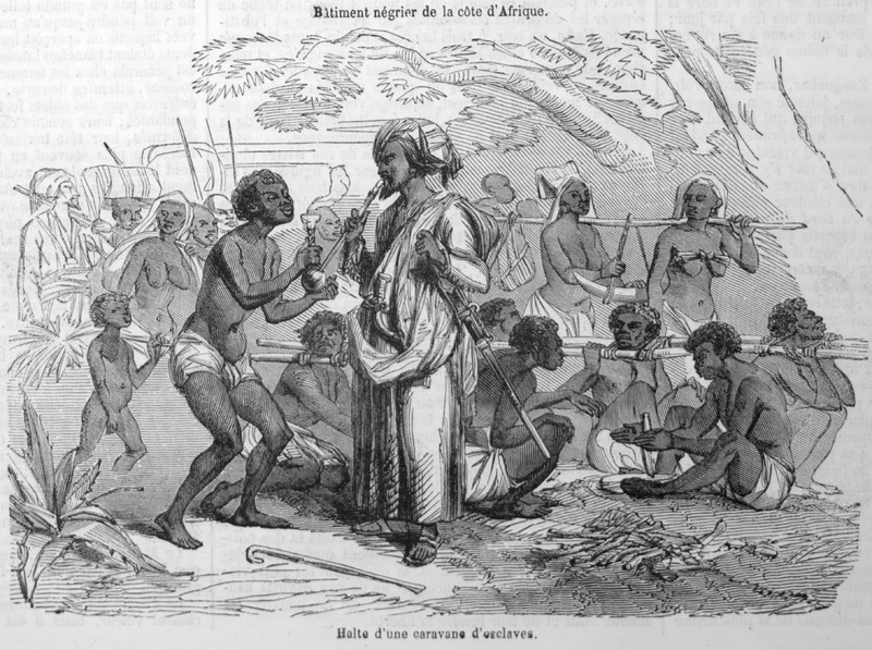 Captioned Halte d'une caravane d'esclaves (A stop/resting place for a slave coffle), shows a group of enslaved Africans linked by wooden poles, the so-called Goree, or Slave-Stick; in center, the Arab slave trader is smoking a hookah or waterpipe. This illustration accompanies a lengthy eyewitness account by Loarer (no first name given) on slavery on the east coast of Africa (pp. 135-138).
