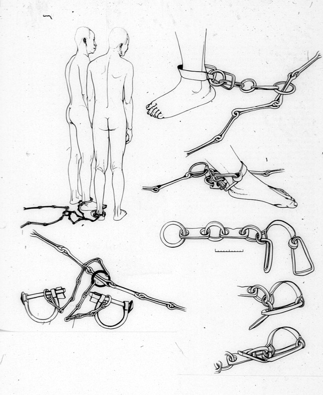 """Irons for Negroes"" (caption translation). Boudriot's artistic interpretation shows how shackles were employed on slave ships. His drawings of the individual objects are based on the originals held in various French museums. The naval architect, Jean Boudriot (1921-2015), extensively researched naval artilleries from 1650 to 1850. Although these are not historical images, they accurately represent the conditions on board slave ships. See also image H001."