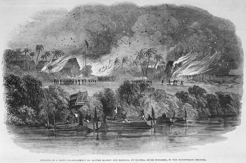 Caption, Burning of a slave establishment by British seamen and marines, at Keonga, river Mozama, in the Mozambique Channel. The accompanying article describes the destruction in the previous June of this African-owned station which was defended by a cannon and by about 300 free natives, with muskets, besides several bowmen and spearmen.