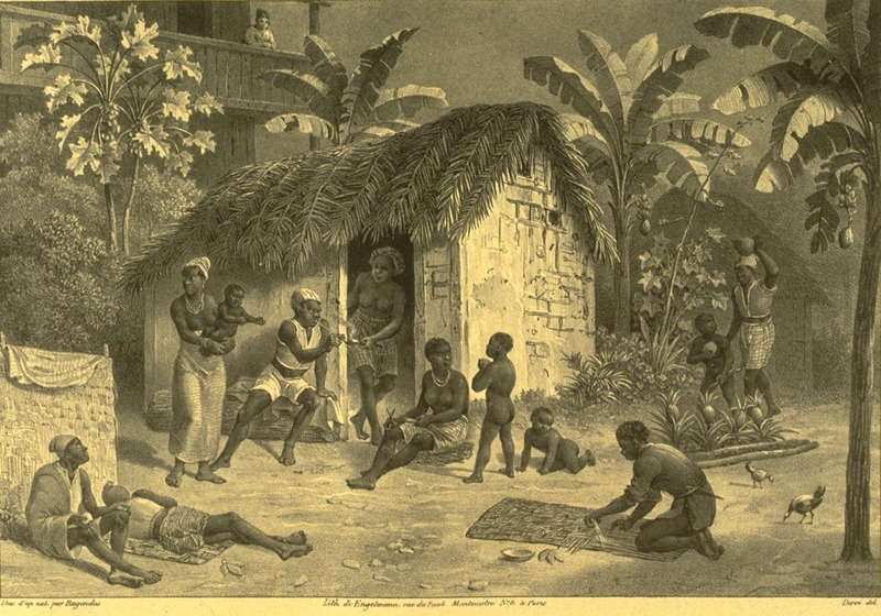 Caption, habitation de negres; shows slave quarters, wattle-and-daub houses and people engaging in various activities, e.g., mat making, pipe smoking; children playing. Manor house in background. For an analysis of Rugendas' drawings, as these were informed by his anti-slavery views, see Robert W. Slenes, African Abrahams, Lucretias and Men of Sorrows: Allegory and Allusion in the Brazilian Anti-slavery Lithographs (1827-1835) of Johann Moritz Rugendas (Slavery & Abolition, vol. 23 [2002], pp. 147-168).