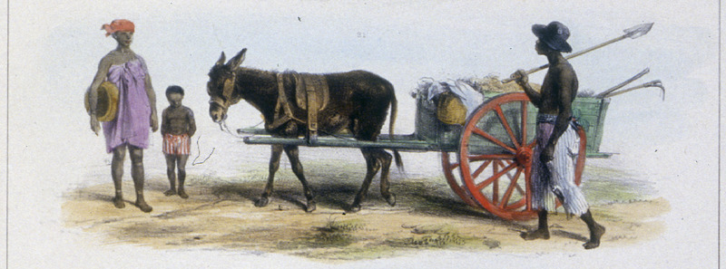 """A Government Slave Responsible for Cleaning Streets"" (caption translation). This engraving shows a street cleaner with his donkey and cart. Benoit described how this man ""is a government-owned slave who is responsible for keeping the streets clean; a woman and child are in the background."" Pierre Jacques Benoit (1782-1854) was a Belgian artist, who visited the Dutch colony of Suriname on his own initiative for several months in 1831. He stayed in Paramaribo, but visited plantations, maroon communities and indigenous villages inland."