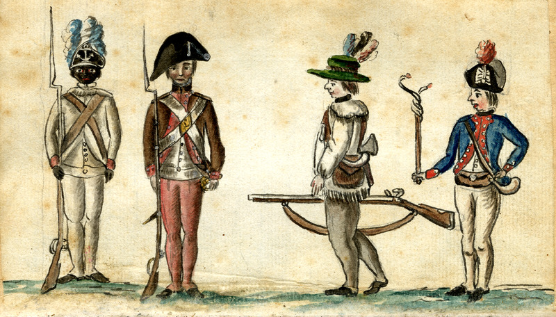 This watercolor from the American War of Independence is by Jean Baptiste Antoine de Verger (1762-1851), a French artist who himself fought in the war as a sub-lieutenant in a French regiment and who kept an illustrated journal of his experiences in the war. The watercolor, which appears in the journal, shows the variety of soldiers fighting for American independence, depicting, from left to right, a black soldier of the First Rhode Island Regiment, a New England militiaman, a frontier rifleman, and a French officer. An estimated 5,000 African-American soldiers fought in the Revolutionary War. Although most black soldiers from New England fought in integrated regiments, the First Rhode Island was an exception - it was made up of 197 black men commanded by white officers. Nevertheless, it was considered an elite unit, and saw action at the Battle of Rhode Island and the Siege of Yorktown.