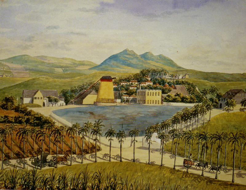 Constitution Hill plantation by Frederick von Scholten showing windmill and sugar works; slave houses on hill above the plantation yard; pond in foreground. (Thanks to Leif Svalesen and George Tyson for assistance in identifying this item.)