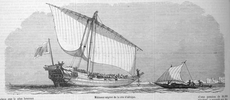 Captioned, Batiment négrier de la cote d'Afrique, shows an Arab slave ship (a dhow) off the East African coast, probably near Zanzibar. This illustration accompanies a lengthy eyewitness account by Loarer (no first name given) on slavery on the east coast of Africa (pp. 135-138). The author reports that he witnessed such dhows of sixty tons with about 400 slaves, every cubic meter always holds five or six slaves (p. 135; our translation).
