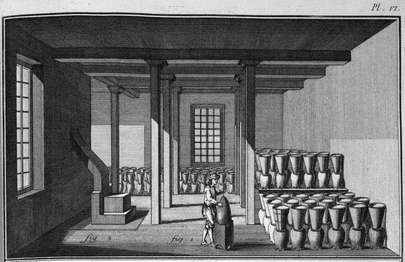 """""""Sugar Refinery"""" (caption translation). This engraving depicts the interior of a sugar curing house with a white man in the middle preparing a conical pot to store among the rows and columns of pots behind him. After the sugar is processed in the boiling house, the raw sugar (muscavado) was poured into the conical pots and the molasses drains into the jars below. Although a European is shown in this illustration, the job was commonly performed by enslaved people. This image is from an unidentified geographic area, but likely in the French Caribbean. Denis Diderot and Jean d'Alembert, with the aid of Quensay, Montesquieu, Voltaire, J. J. Rousseau, Turgot, and others edited this illustrated, 28 volume French encyclopedia published between 1751 and 1775. It played a major role in the intellectual preparation for the French Revolution."""