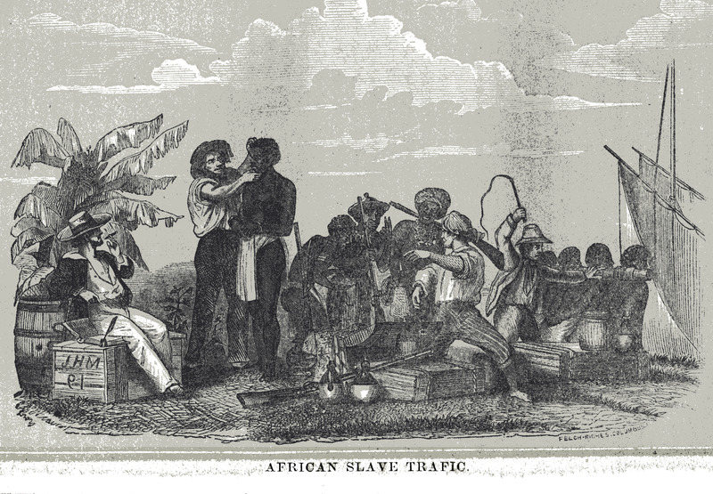 "This engraving shows European and African slave traders at an unknown location, likely in Africa. According to the accompanying text, ""European on left examining an African; on right, African traders looking at European trade goods, and European in background with whip herding purchased Africans toward slave ship. . . Illustrates the process of slaving after Africans were captured; after examining the captives, they were chained and stowed"" (see pp. 113, 127). The image was apparently not based on an eye-witness, but was fabricated by the artist. This illustration was probably derived from an earlier, unidentified, source; or it is a composite of other images. see, for example, image canot-2 on this website."