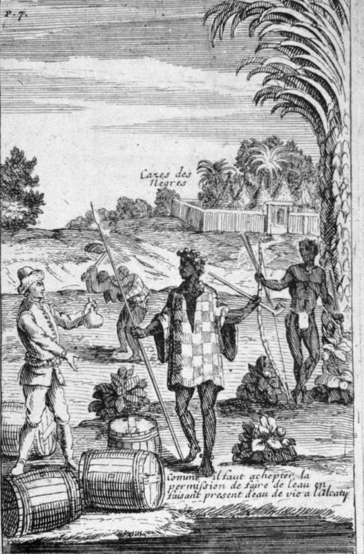 """The text in the image states """"cases des negres"""" or """"palisaded village."""" In the center, a woman with child on her back were cultivating a garden, while in the foreground, a European was trading with Africans. The caption for this scene states """"il faut achepter [sic] la permission de faire de l'eau en faisant present d'eau de vie a l'alcaty"""" or """"in order to acquire fresh water one needs permission from the chief and must give him a present of brandy."""" Note the smoking pipe and weapons on the right. The 1699 Amsterdam edition contains a similar, albeit derivative copy, of this image (facing p. 7)."""
