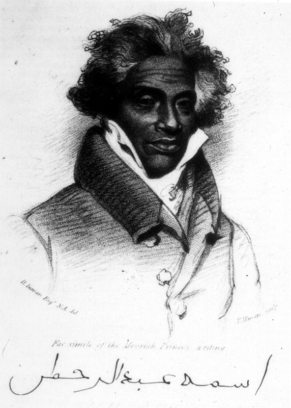 """This engraving of a crayon drawing shows Abdul-Rahman ibn Ibrahima Sori (1762–1829), who was an Fulbe (or Fulani, Peule) emir was born and educated in Timbuktu in the Western Savanna region, but was enslaved in the Fuuta Jallon area of the Senegambia region. Sold to the British, he was then taken to the Caribbean island of Dominica, where he briefly stayed until he went to New Orleans, where he was resold to a cotton plantation near Natchez, Mississippi. Upon learning of his noble lineage, his slave master, Thomas Foster, began referring to him as """"Prince,"""" a title he kept until his final days. After spending 40 years in slavery, he was freed in 1828 by order of U.S. President John Quincy Adams and Secretary of State Henry Clay after the Sultan of Morocco requested his release. He ultimately reached Liberia, where he died in 1829 and eight of his descendants born in the Americas migrated to Liberia in 1830 from Norfolk, Virginia, on a ship chartered by the American Missionary Society. See Archibald Alexander, A History of Colonization on the Western Coast of Africa (Philadelphia, 1846), p. 256-257, 347."""