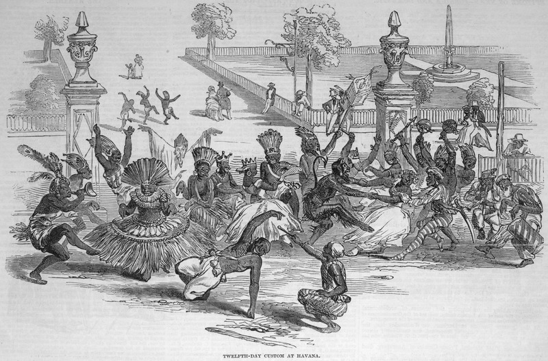 This sketch of the Twelfth Day Festival, or Day of the Kings, as it is called in Havana was taken by an English visitor to Havana on 6 January 1847, and sent to the Illustrated London News which reports It represents an annual custom--a kind of Saturnalia--permitted by the authorities to the Slaves or Negroes of what they call 'Nacion,' or Nation--that is to say, those born in Africa . . . (p. 148). Note, musical instruments and elaborate costumes, representing different ethnic groups. For a related illustration of this festival, see image Album-8 on this website. For details on Havana's annual El Dia de Reyes festival, see Daniel E. Walker, No More, No More: Slavery and Cultural Resistance in Havana and New Orleans (Univ. of Minnesota Press, 2004).