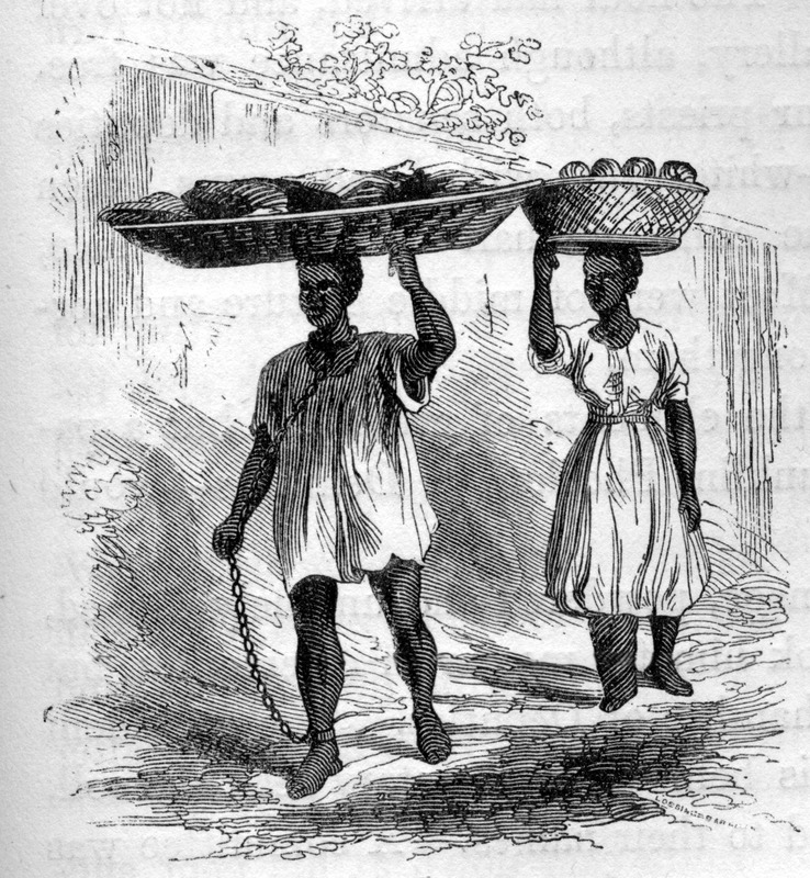 "This image depicts enslaved Africans carrying goods to market in heavy chians. According to Ewbank, ""while waiting for [an acquaintance]. . . a dozen at least of butcher's slaves went past in the course of an hour with crushing loads of fresh-killed beef. . . One poor fellow had a collar, and a chain extending from it to an ankle. . . Other slaves went by, awfully crippled in their feet and legs; among them two women, lame with elephantiasis. . . The right leg of one was really almost as large as her waist"" (p. 277). Thomas Ewbank (1792–1870) was an English writer on practical mechanics. In 1845–1846, he travelled to Brazil and on his return published an account of his travels. He was then appointed United States Commissioner of Patents by President Taylor in 1849."