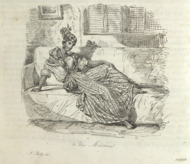 Caption, Une Mulatresse, the woman is depicted lounging on a divan wearing a long dress, blouse, and head-tie.