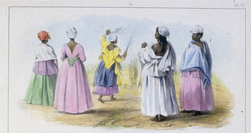 """Five Enslaved Women Going to their Church on a Festival Day"" (caption translation). This engraving shows well-dressed women, who are a Lutheran, a Jew, a Calvinist and a Moravian, while a young, Christian, creole slave is going to church on the day of Palms. Pierre Jacques Benoit (1782-1854) was a Belgian artist, who visited the Dutch colony of Suriname on his own initiative for several months in 1831. He stayed in Paramaribo, but visited plantations, maroon communities and indigenous villages inland."
