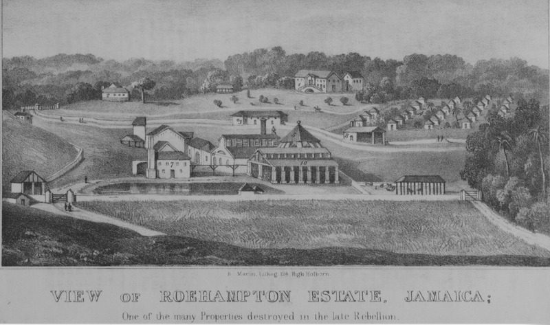 Shows the slave village, the mansion house, plantation hospital (on left in background), and sugar works, including boiling and curing house and mill. This illustration was done by James Hakewill, but was not published in his A Picturesque Tour of the Island of Jamaica (London, 1825). Compare with image NW0087. See also, other Hakewill images on this website.