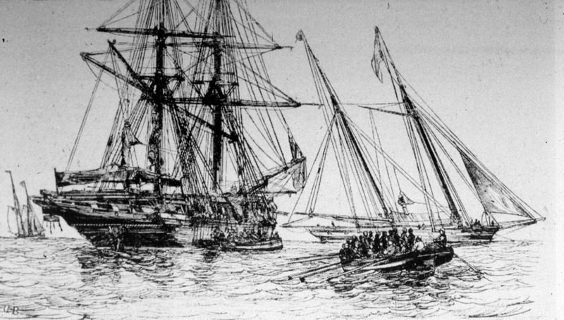 "Smaller boats take captives to unidentified ocean going vessels. The origins of this image have not yet been identified, although Walvin's caption was ""A Slaver Taking in Negroes, 1844"" (p. 53)."