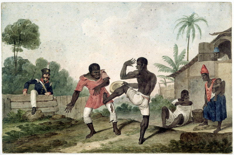 Water color on paper titled Negroes fighting, Brazils. Although the word fighting is in the artist's title, the men's body movements are those of Capoeira (see image reference NW0171 on this website). Several onlookers are shown, including a woman carrying an infant, and a white policeman/soldier approaching the scene; the seated man is playing a drum, the source of music for this performance. Augustus Earle, an English painter, lived in Rio from early 1820 to early 1824, with occasional trips to Chile and Peru during that period.