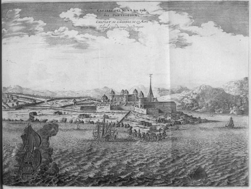 """""""Mina Castle at the time of the Portuguese"""" (caption translation). This image depicts Elmina castle in the Voltaic region. European ships were in the foreground, African houses/town shown in left hand corner and in various areas around the fort. In an informed discussion of Dapper as an historical source, Adam Jones writes """"there is virtually no evidence that Dapper took much interest in what sort of visual material was to accompany his text, and that it was the publisher, Van Meurs, who probably did all the engraving himself."""" With respect to the plates, in particular, Jones concludes that """"for those interested in seventeenth-century black Africa rather than in the history of European perceptions, few of the plates showing human beings and artefacts are of any value. . . [and] originated solely from Van Meurs' imagination. . . [although] they have been used as historical evidence in modern works."""" See Jones, """"Decompiling Dapper: A Preliminary Search for Evidence"""" History in Africa, 17 (1990), pp. 187-190. See also Christopher DeCorse, An Archaeology of Elmina: Africans and Europeans on the Gold Coast, 1400-1900 (Smithsonian Institution Press, 2001)."""