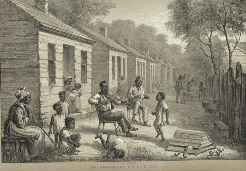 Caption, negerhyddor I Louisiana (Negro huts in Louisiana); shows row of cabins, houses, people lounging, children playing and dancing, man playing fiddle. Title in English: Sketches from the North American war, 1861-65. Letters and notes during a four-year stay in the United States by a Swedish officer who participated in this war (thanks to Annulla Linders for translation from the Swedish).