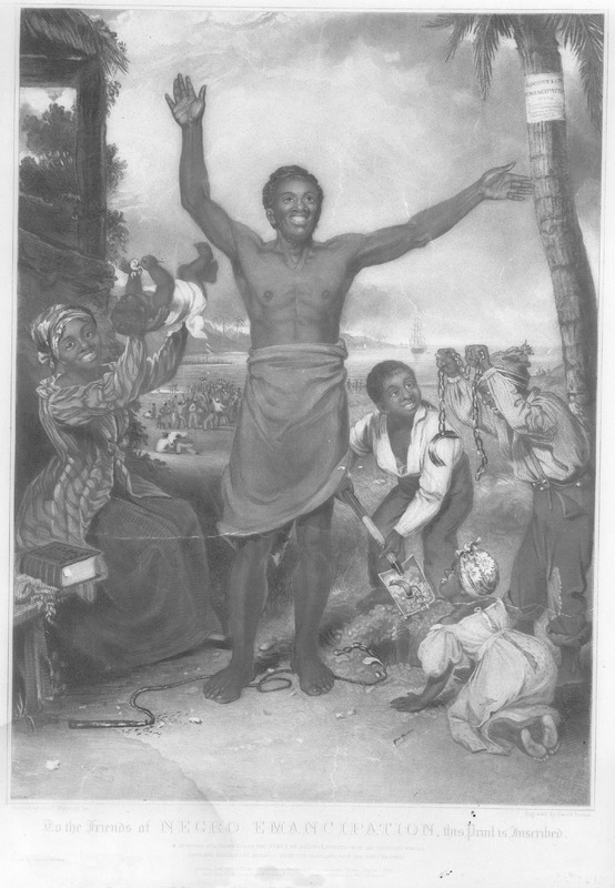Caption, To the friends of Negro emancipation, this printed is inscribed . . . Painted by Alexr. Rippingille; engraved by David Lucas....(London, 1834). Text below reads: A glorious and happy era on the first of August, bursts upon the Western World; England strikes the manacle from the slave, and bids the bond go free. A separately published engraved aquatint engraving, commemorating Britain's emancipation of slaves throughout its empire in 1834. (Copy located in Library Company of Philadelphia).