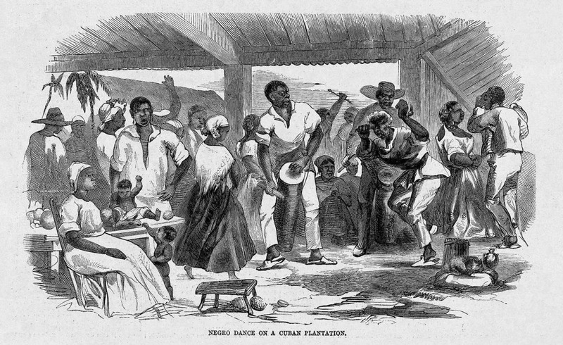 "This image shows a group of men and women dancing to drums and other musical instruments under a veranda in Cuba. The author of the article is unknown and frequently refers to ""a late traveler in Cuba,"" which suggests this image was an imagined representation. Harper's Weekly: A Journal of Civilization was an American political magazine based in New York City and published by Harper & Brothers from 1857 until 1916. It featured foreign and domestic news, fiction, essays on many subjects and humor, alongside illustrations. It covered the American Civil War extensively, including many illustrations of events from the war."