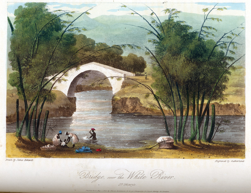 This image shows enslaved women washing at the river.  James Hakewill (1778–1843) was an English architect known for illustrated publications. Several of his works relating to Jamaica can be found in T. Barringer, G. Forrester, and B. Martinez-Ruiz, Art and Emancipation in Jamaica: Isaac Mendes Belisario and his Worlds (New Haven: Yale Center for British Art in association with Yale University Press, 2007), passim.