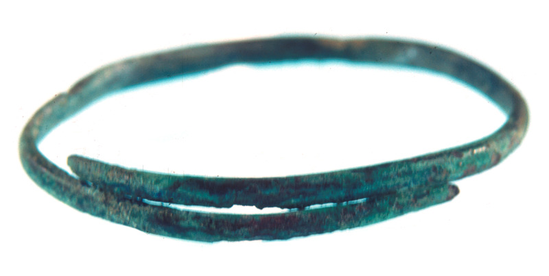 This photograph shows a wire bracelet found on a buried skeleton. See image Newton001.