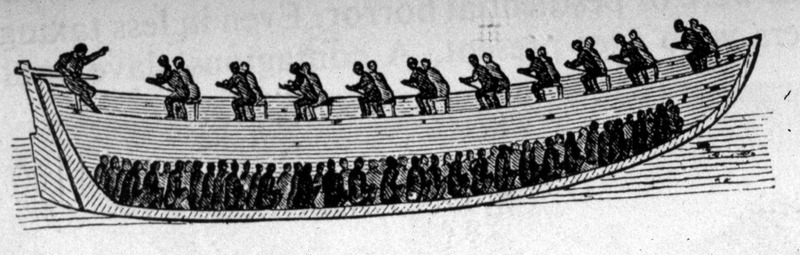 """This image depicts a cross section of boat, showing how slaves were positioned on board to be taken offshore to waiting slave ship. As reported in The Illustrated London News, these are """"the embarkation boats used by the [Spanish] slave factors [on the Gallinas River in Sierra Leone at the Upper Guinea coast region]; they are launched from the beach, with 200 slaves in their bottom; besides 20 or 30 rowers to each boat, which is about 40 feet long, 12 broad, and seven or eight feet deep"""" (p. 237)."""