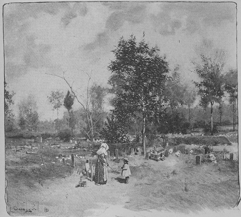 Captioned Negro cemetery at Wilmington, numerous headstones are visible. Although several decades after emancipation this cemetery may resemble some during the late ante-bellum period.