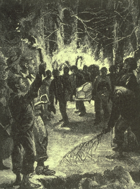 Caption, an old-time midnight slave funeral, casket being carried to gravesite; scene lit by torches. In those portions of the South where the plantations were largest, and the slaves most numerous, they were very fond of burying their dead at night, and as near midnight as possible (Pierson,p. 284).