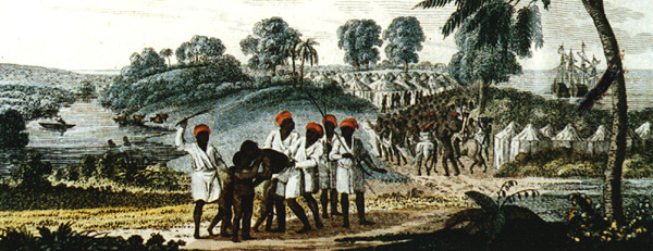 """""""Boarding of Negroes"""" (caption translation). In the foreground, the coastal scene shows captive Africans being whipped and guarded by other Africans, presumably their captors. In the background, an African village and European slave ship was waiting offshore. A very similar scene was depicted on another engraving, """"A view taken near Bain, on the coast of Guinea in Affrica,"""" by Catherine Prestell, London, 1789. See www.wikigallery.org, www.bridgemanart.com, and the website of the National Maritime Museum (Greenwich), Picture Gallery, image F0879. The original is identified as a colored aquatint, done by Catherine Prestell after R. Westal."""