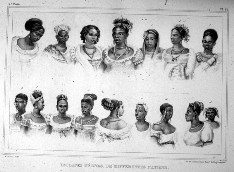 """Enslaved Negros, from Different Nations"" (caption translation). This illustration shows profiles, upper torsos, hairstyles and jewelry for sixteen different  enslaved women representing the diversity of African heritage in Brazil. Jean-Baptiste Debret (1768–1848) was a French painter, who produced lithographs depicting people during his residence in Brazil from 1816 to 1831. The Portuguese court commissioned Debret to paint their portraits, but he took a particular interest painting enslaved Africans and indigenous peoples. See also Jean Baptiste Debret, Viagem Pitoresca e Historica ao Brasil ([Paris, 1854]; Editora da Universidade de Sao Paulo, 1989)."