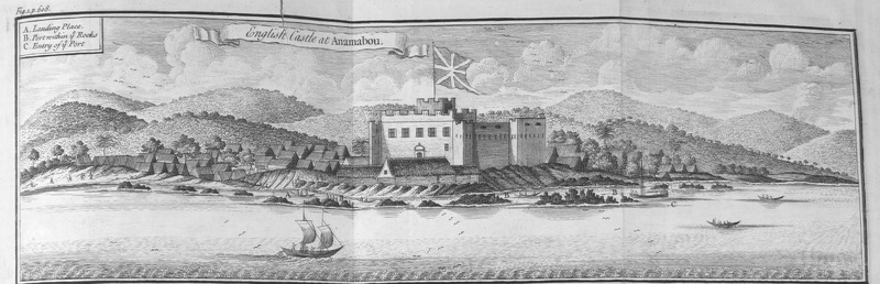 "This engraving depicts an English fort at Anomabo (or Anomabu, Annamaboe) in the Voltaic region. Thomas Astley (d. 1759) was a British bookseller and publisher who never went to Africa. His imagined localities and illustrations of Africa were informed by a library of travel books at his disposal. In 1698, the Royal African Company described the facilities at Anomabo, which included ""twelve great guns. . . a large tank or cistern. . . and a Negroe-house for one hundred and fifty Negroes. This fort. . . opens a trade . . . for gold, corn, palm-oyl and oyster-shells; also a very great trade for slaves."" See Royal Africa Company, A Particular of the Royal African Company's Forts and Castles in Africa (London, ca. 1698). By the 1770s, it was reported that ""almost every room in the fort is in a rotten, ruinous condition. . . very little slave trade at present."" See John Roberts, Extracts from an account of the state of the British forts, on the Gold Coast of Africa [London: Printed for J. Bew, 1778)."