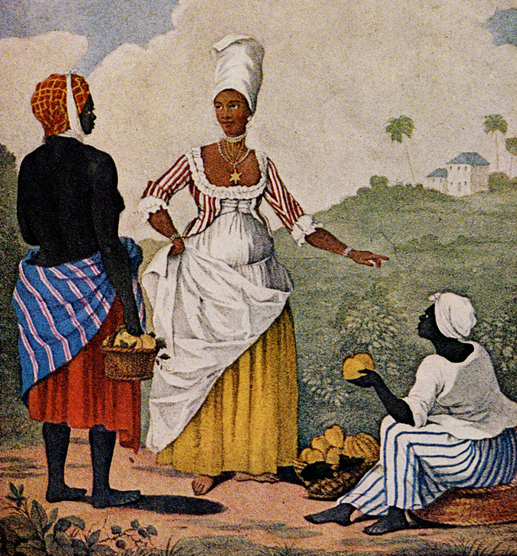Titled by the artist, The Barbadoes Mulatto Girl, this engraved print shows an anonymous free woman of color (freedwoman) purchasing fruit/vegetables from enslaved vendors (see also, image NW0149-a ). Agostino Brunias (sometimes incorrectly spelled Brunyas, Brunais), a painter born in Italy in 1730 and came to England in 1758 where he became acquainted with William Young. Young had been appointed to a high governmental post in the Caribbean territories Britain had acquired from France, and in late 1764 Brunias accompanied Young to the Caribbean as his personal artist. Arriving at Barbados in early 1765 (where the sketch for the image shown here, perhaps for others as well, was probably done), Brunias stayed in the islands until around 1775, when he returned to England (exhibiting some of his paintings in the late 1770s) and visited the continent. He returned to the West Indies in 1784 and remained there until his death on the island of Dominica in 1796. Although Brunias primarily resided in Dominica he also spent time in St. Vincent, and visited other islands, including Barbados, Grenada, St. Kitts, and Tobago. See Lennox Honychurch, Chatoyer's Artist: Agostino Brunias and the Depiction of St Vincent, for what is presently the most informative and balanced discussion of Brunias and his romanticized and idyllic paintings of West Indian scenes and slave life (Jl of the Barbados Museum and Historical Society, vol. 50 [2004], pp.104-128); see also Hans Huth, Agostino Brunias, Romano (The Connoisseur, vol. 51 [Dec. 1962], pp. 265-269). A photograph of this print was given to Handler in the 1960s by the late Neville Connell, Director of the Barbados Museum. Four Brunias paintings, some containing elements of images shown on this website (including, for example, the slave woman in the lower right, above) can be seen on the website of the Peabody Museum of Archaeology and Ethnology at Harvard University. Another copy of The Barbadoes Mulatto Girl is held by the Yale Center for British Art; it was published in London in 1779 and is dedicated to John Geo., Felton.