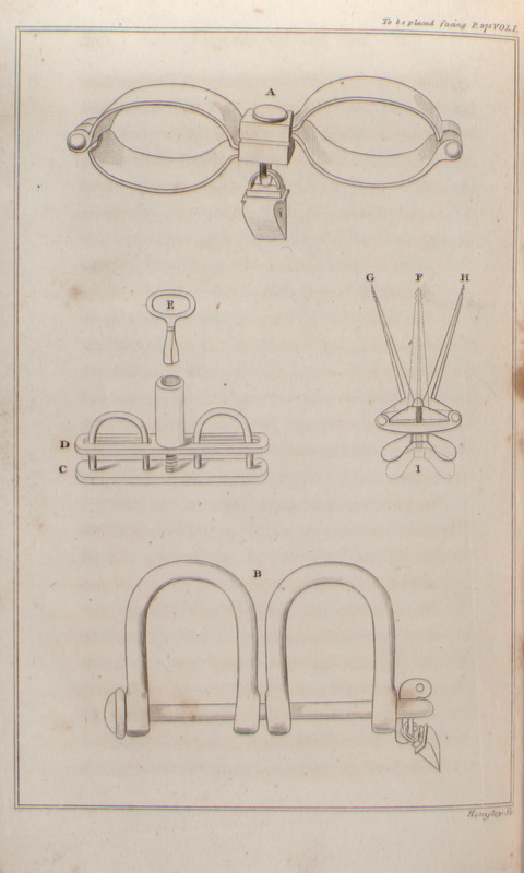 "Clarkson explained that ""he purchased these items in a shop in Liverpool and that they had been used on slave ships. A, pair of handcuffs for men (right wrist of one person was padlocked to left wrist of another); B, leg shackles for men (right ankle of one is fastened to left ankle of another); C,D,E, the thumbscrew used for punishing slaves (The thumbs are put into this instrument through the two circular holes at the top of it. By turning a key, a bar rises up by means of a screw from C to D, and the pressure upon them becomes painful. By turning it further you may make the blood start from the ends of them . . .); F,G,H, speculum oris or mouth opener,"" which was used by surgeons aboard slave ships for force feeding (vol. 1, p. 375-377). The same illustrations appear in the 1808 Philadelphia edition, but between p. 300 and 301."